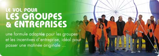 tour en ballon, vol en groupe, vol incentive